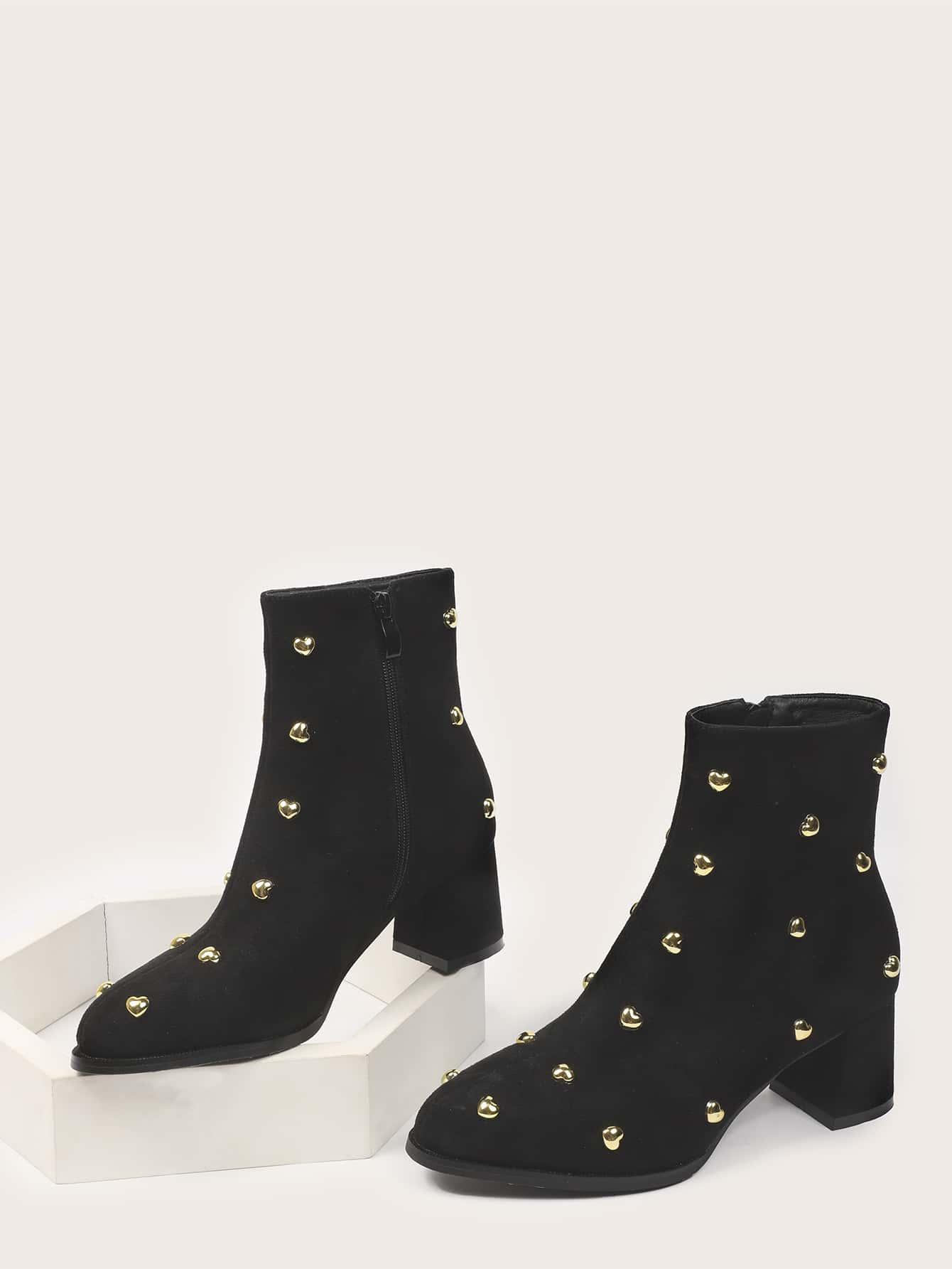 Studded Decor Side Zip Chunky Heeled Boots