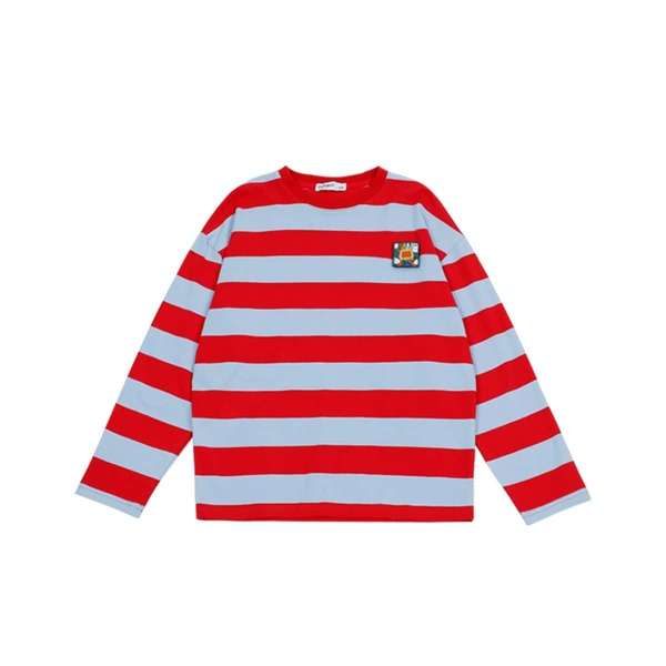 Boys Patched Detail Striped Pattern Sweater, Multicolor
