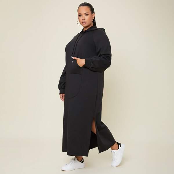 Plus Raglan Sleeve Split Hem Drawstring Hooded Dress, Black