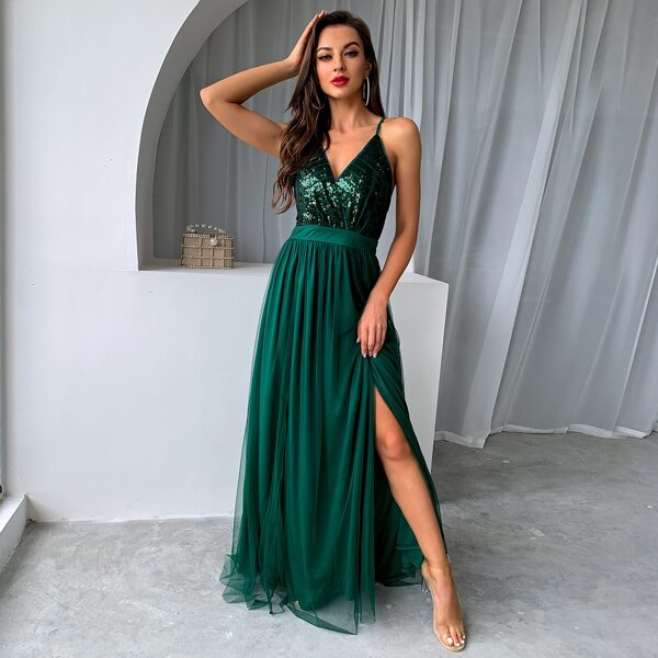 Sequin Bodice Backless Mesh Cami Prom Dress, Green