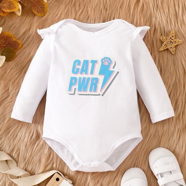 Baby Letter & Paw Print Ruffle Trim Bodysuit, White