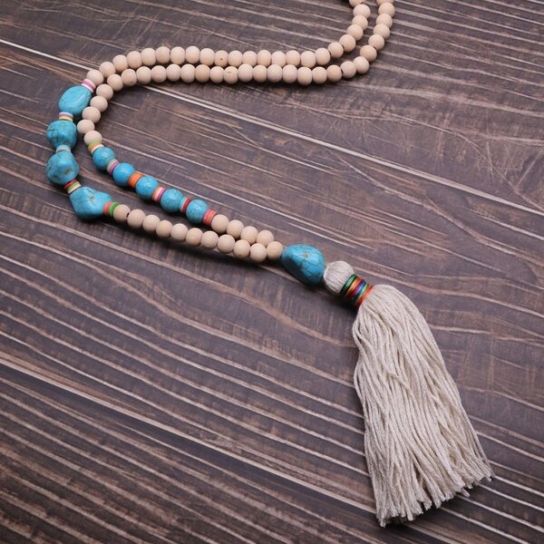 Tassel Charm Round Beaded Necklace, White