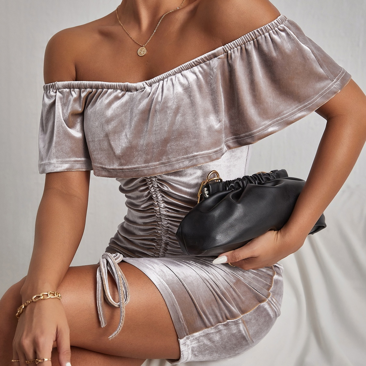 Off Shoulder Fold Over Drawstring Ruched Front Bodycon Dress