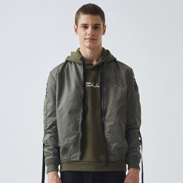 Men Letter Embroidery Ruched Buckled Zipper Jacket, Army green