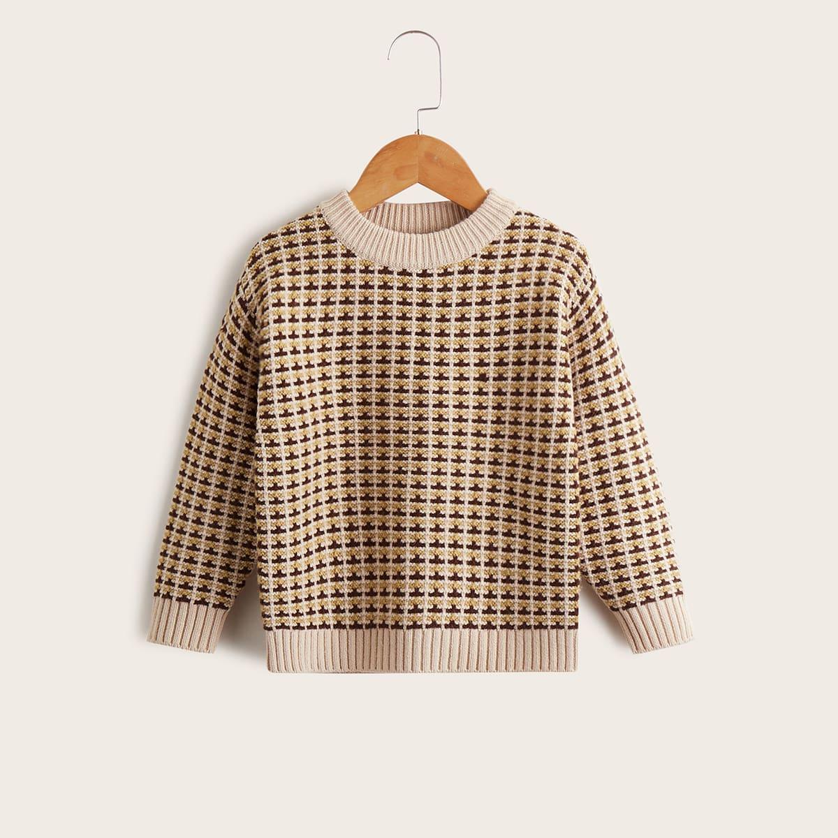 Toddler Girls Plaid Pattern Sweater