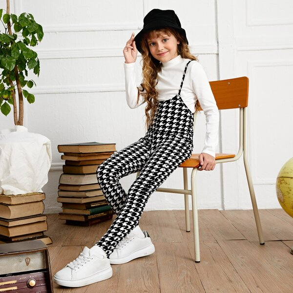 Girls Houndstooth Print Pinafore Jumpsuit Without Tee, Black and white