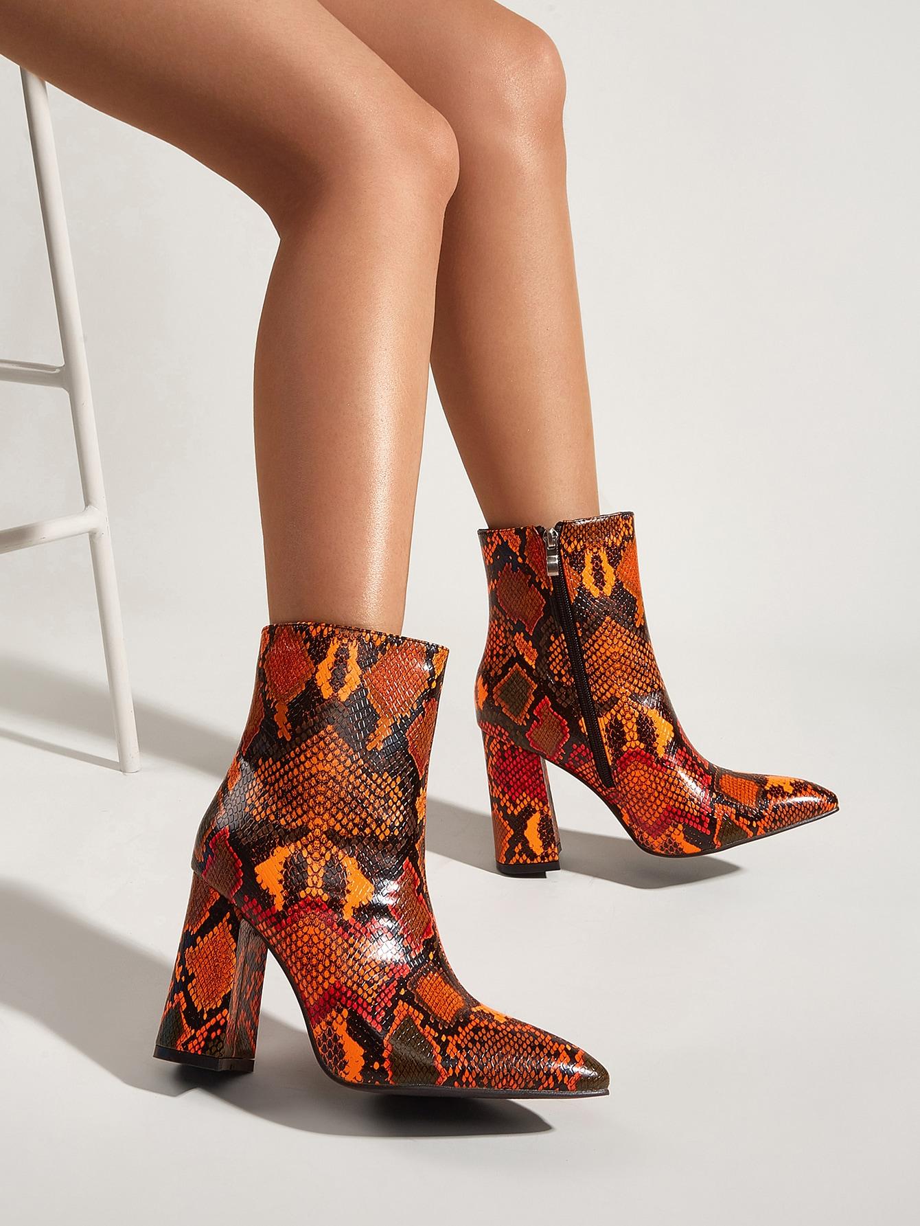 Snakeskin Pattern Side Zipper Boots