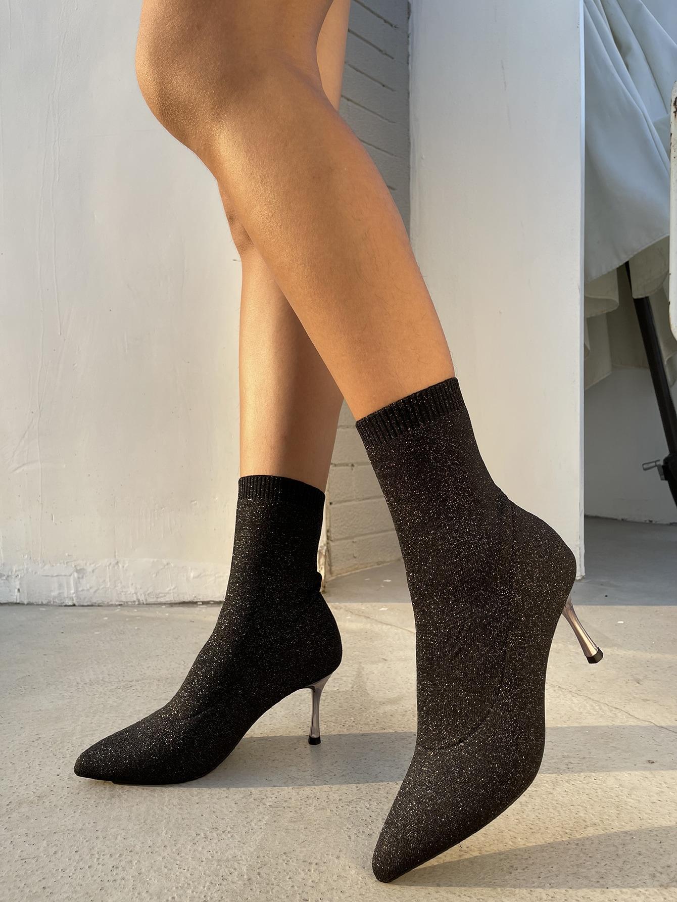 Glitter Point Toe Sock Boots