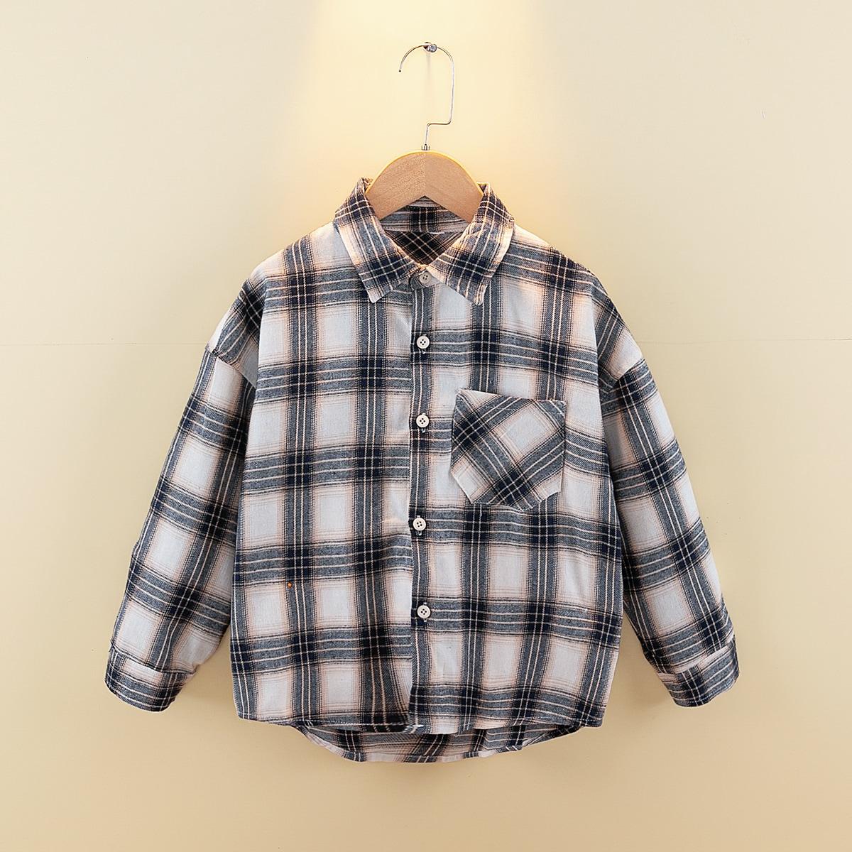 Асимметричная рубашка в клетку для мальчиков