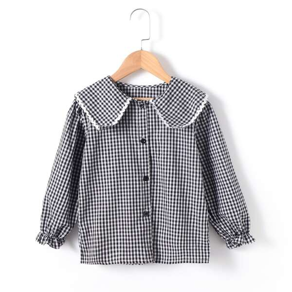 Girls Statement Collar Gingham Print Flounce Sleeve Blouse, Black and white