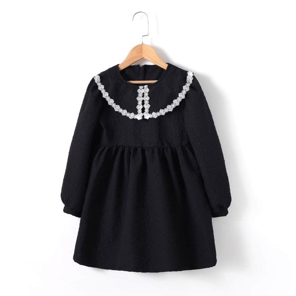 Girls Peter Pan Collar Lace Trim Lantern Sleeve Smock Dress, Black