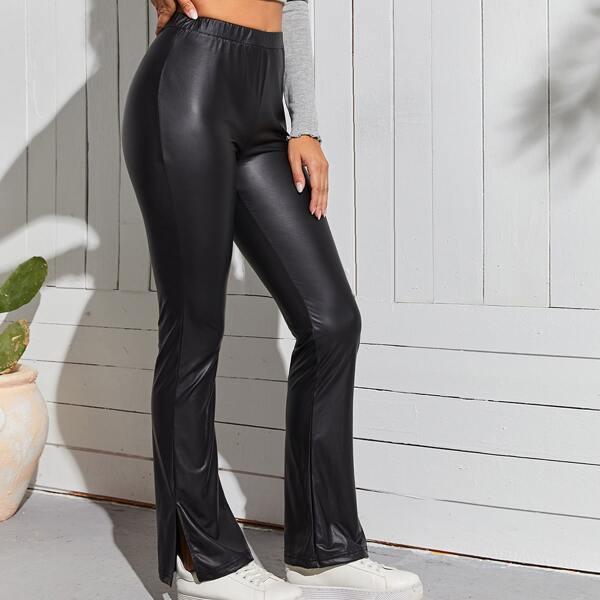 Slit Hem Leather Look Flare Leg Pants, Black