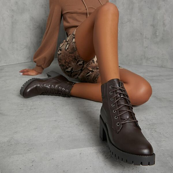 Pleather Lace-Up Lug Sole Block Heel Booties, Chocolate brown