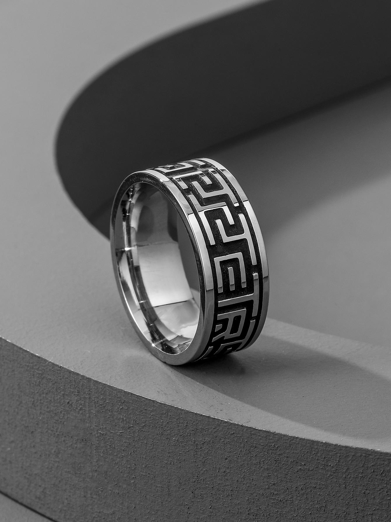 Men Round Engraved Ring