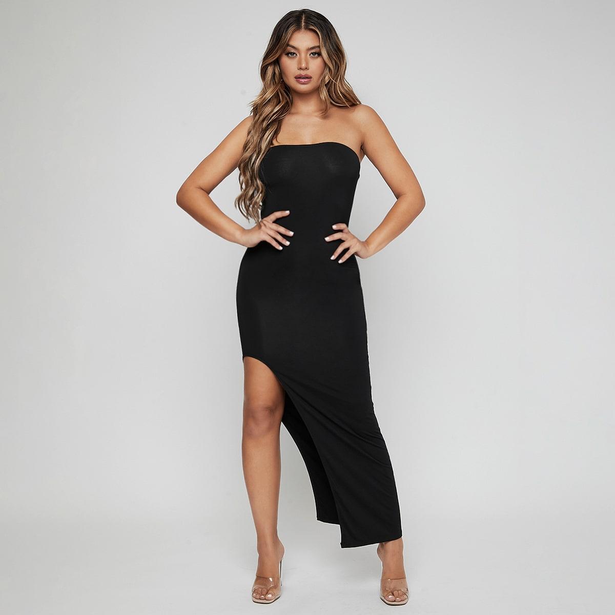 Split Thigh Solid Tube Dress