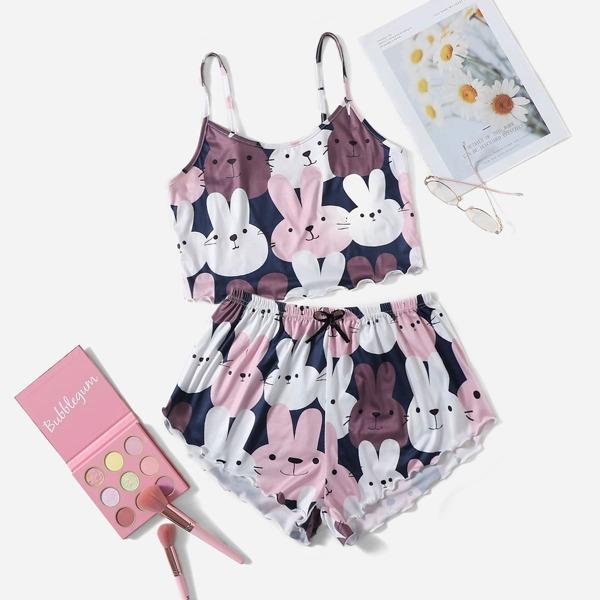 Rabbit Print Lettuce Trim Cami Top & Shorts PJ Set, Multicolor
