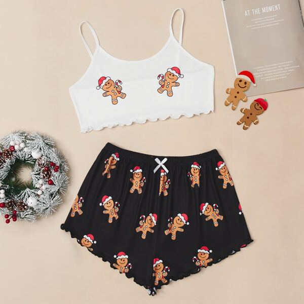 Christmas Gingerbread Print Lettuce Trim Cami PJ Set, Black and white