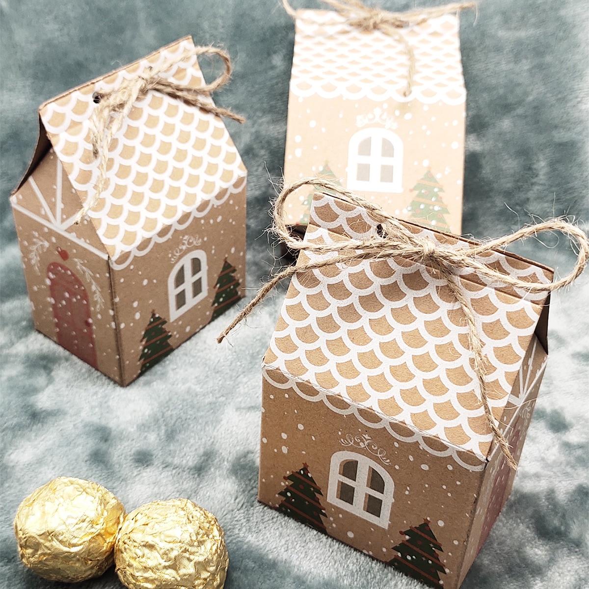 10шт Упаковочная коробка Рождественский в форме дома