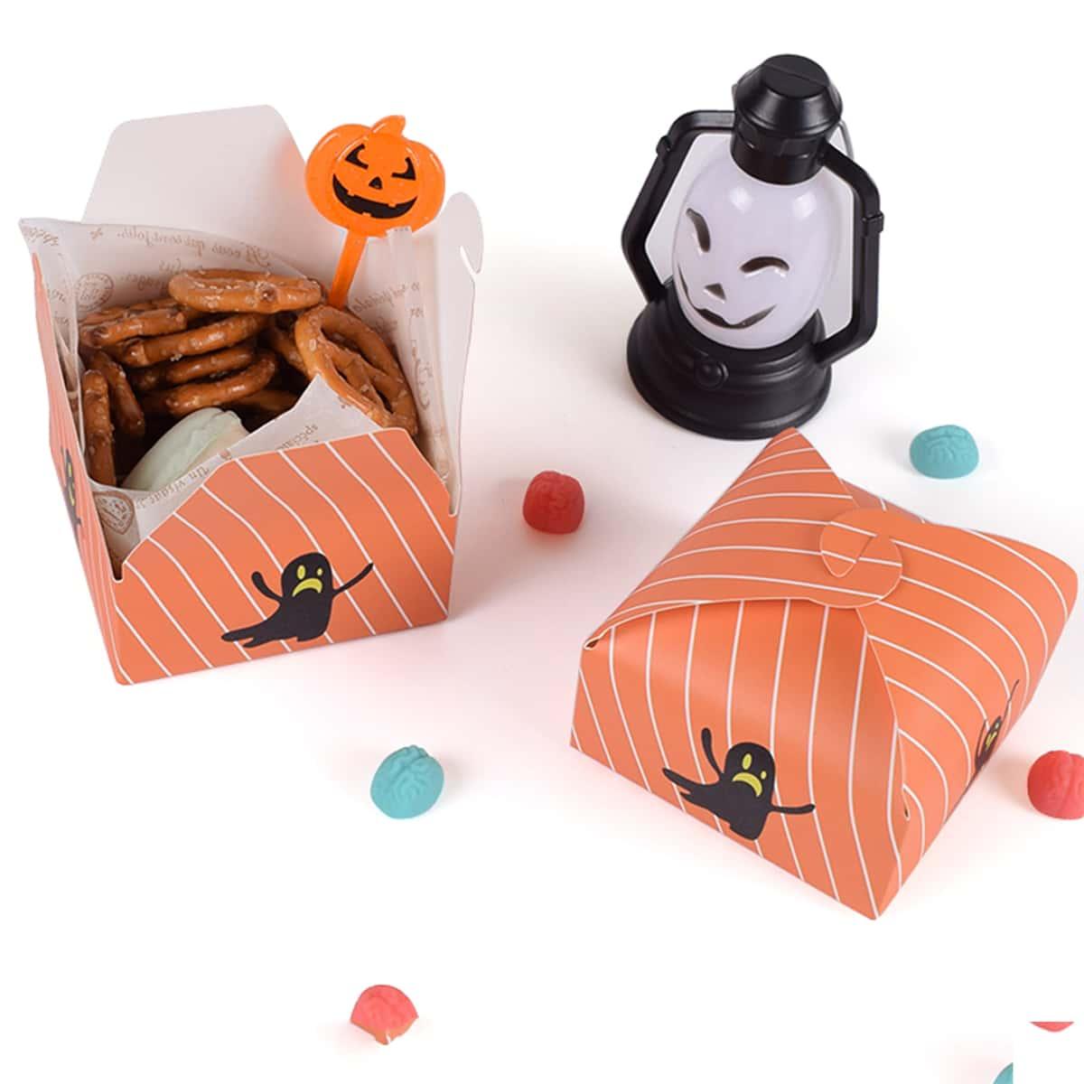 10шт Коробка для конфет на хэллоуин с принтом призрака