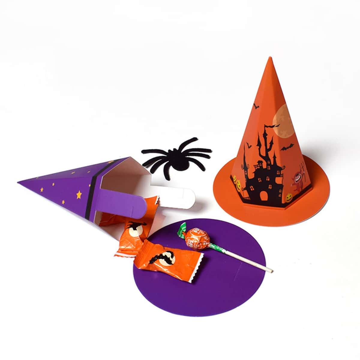10шт Коробка для конфет на хэллоуин в форме шапки