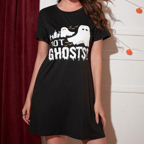 Halloween & Letter Graphic Nightdress, Black