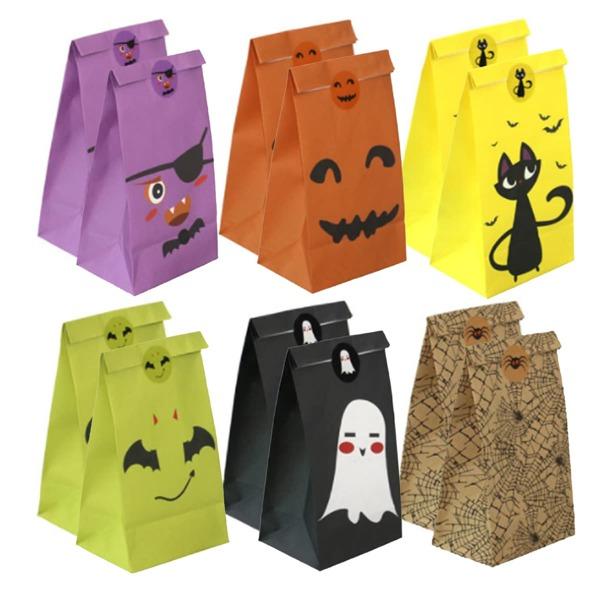 12pcs Halloween Pattern Packaging Bag, Multicolor