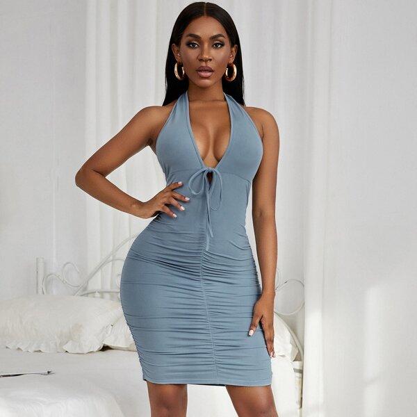 Halterneck Ruched Peekaboo Back Bodycon Dress, Baby blue
