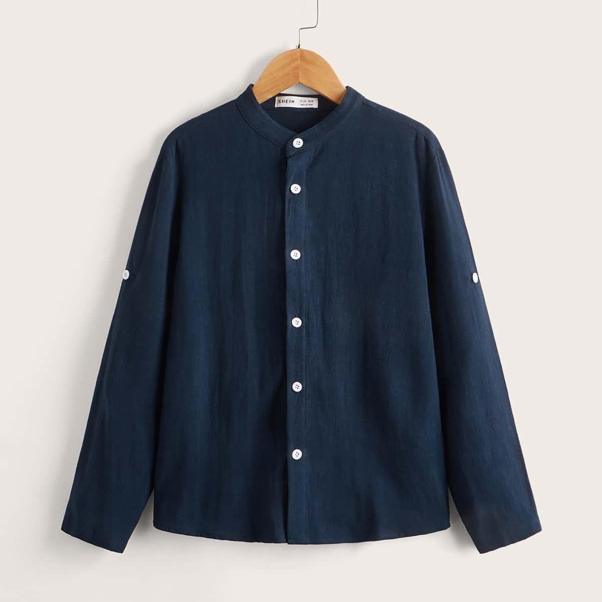 Пуговица Одноцветный Повседневный Рубашки для мальчиков