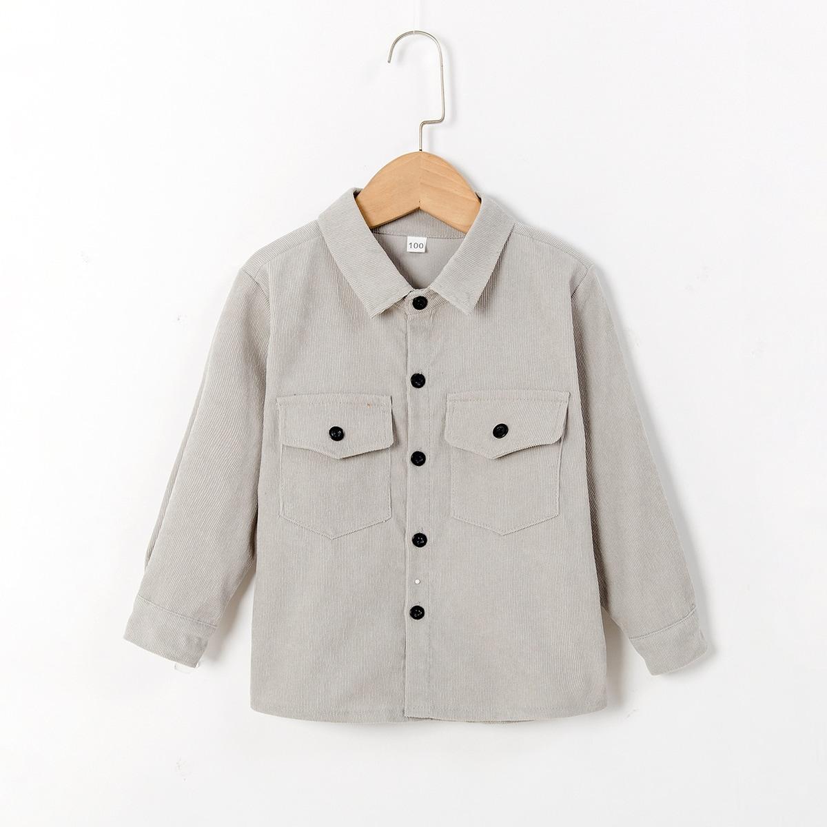 Однотонная вельветовая рубашка с карманом для мальчиков