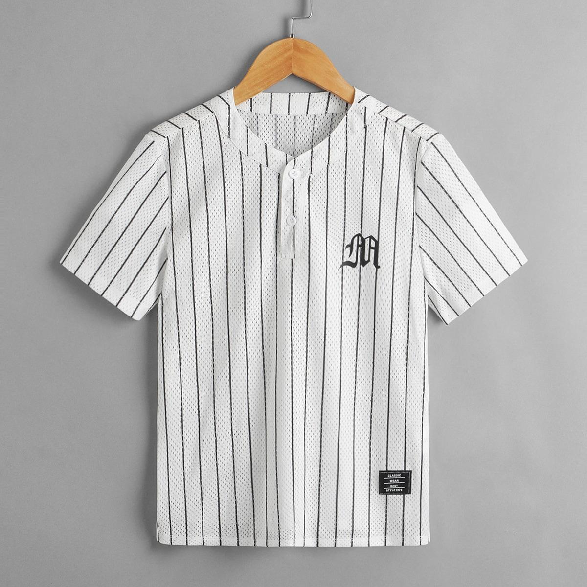 Пуговица буква Полосатый Повседневный Рубашки для мальчиков