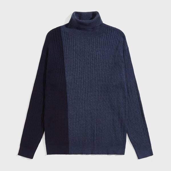 Men Turtleneck Two Tone Sweater, Navy blue