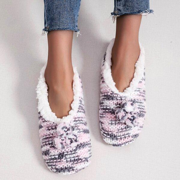 Pom-pom Decor Colorblock Fluffy Slippers, Multicolor