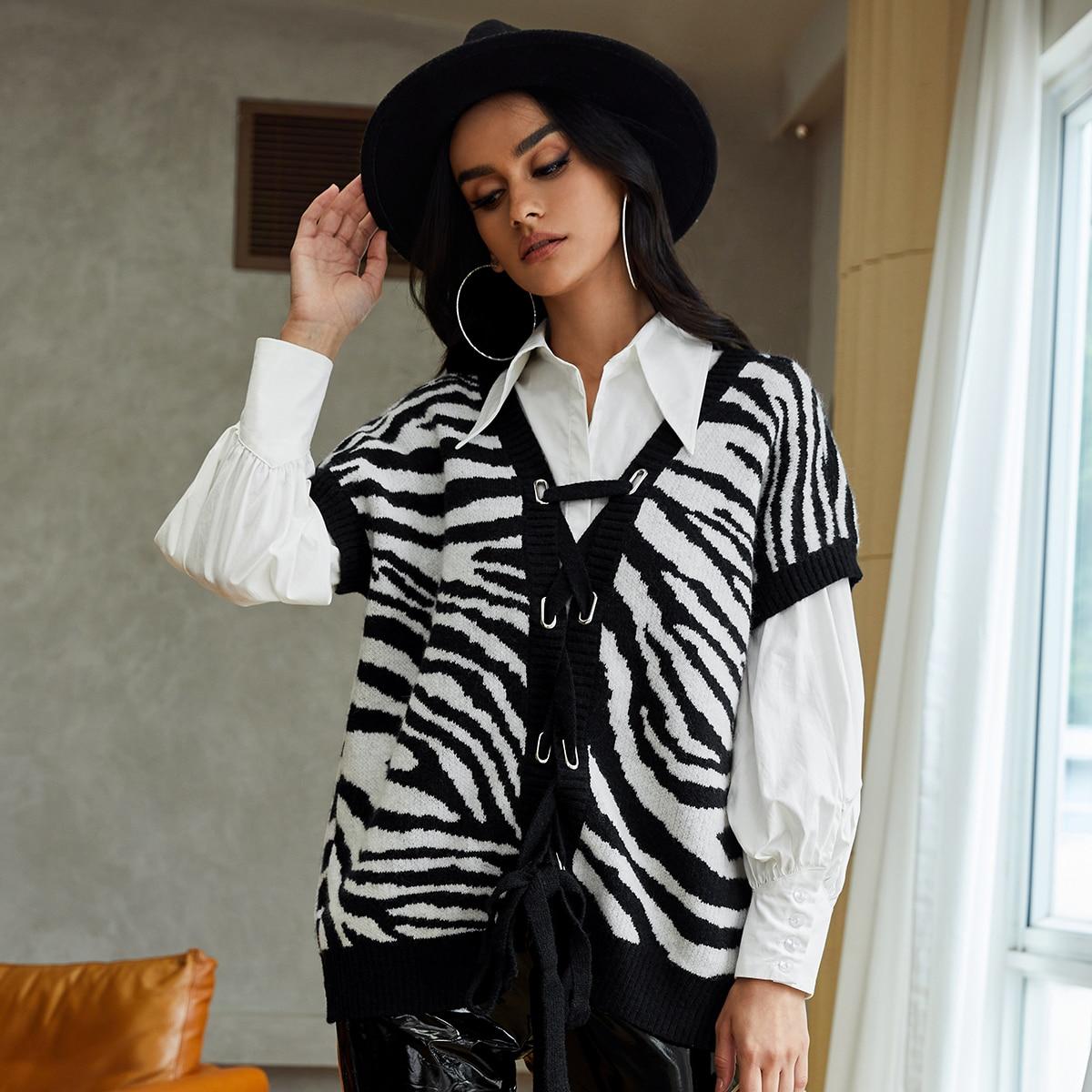 Zebra Stripe Lace Up Sweater Vest With Blouse
