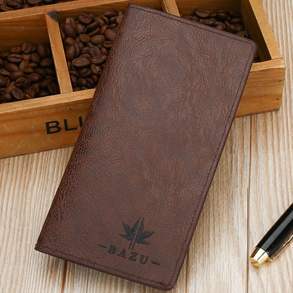 Men Letter Detail Textured Long Wallet, Rust brown