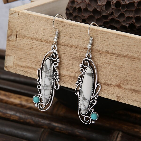 Stone Decor Hollow Out Drop Earrings, Antique silver