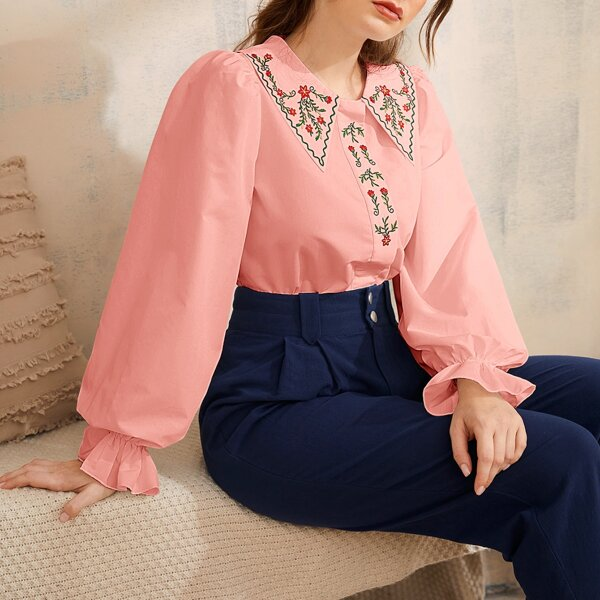 Floral Embroidery Peter-pan Neck Flounce Sleeve Blouse, Coral pink