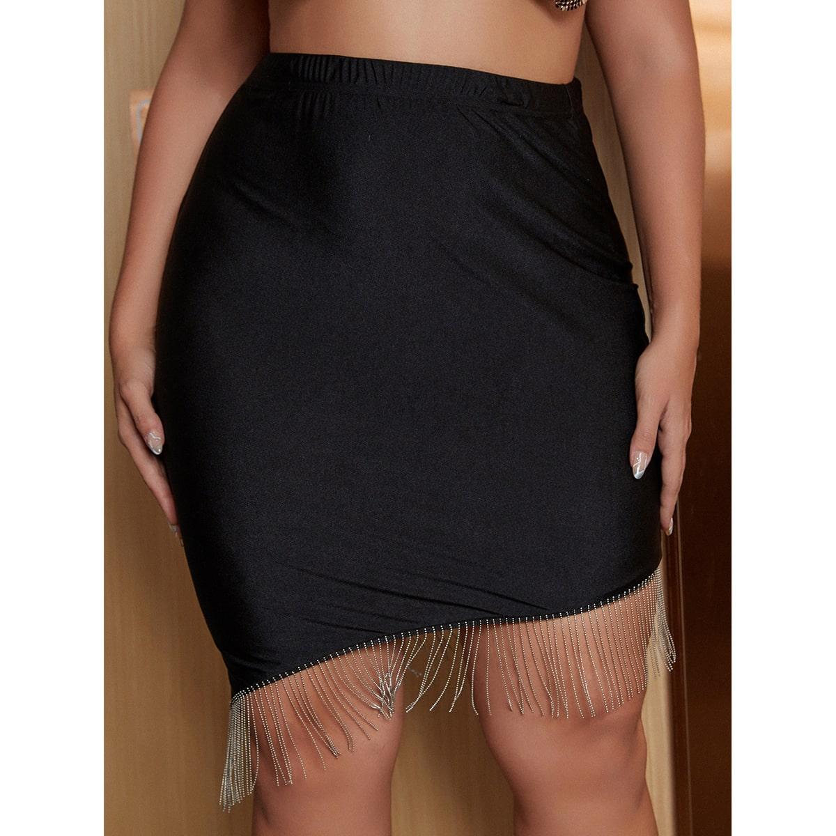 размера плюс Облегающая юбка со стразами с бахромой