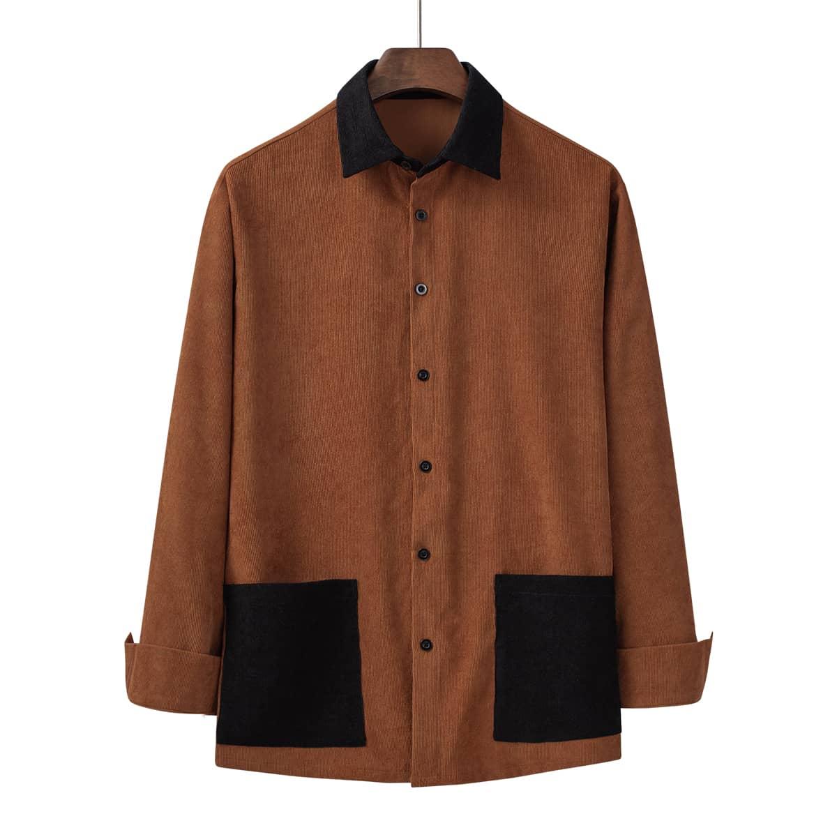 Мужской Рубашка из вельвета контрастный воротник