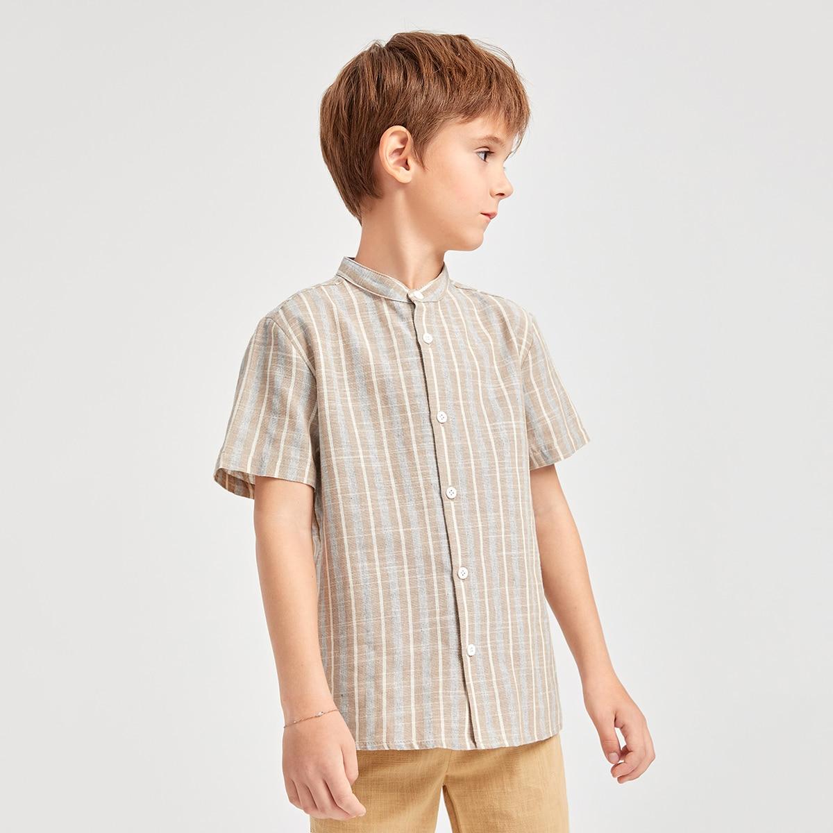 Рубашка из 60% хлопка в полоску с воротником-стойкой для мальчиков