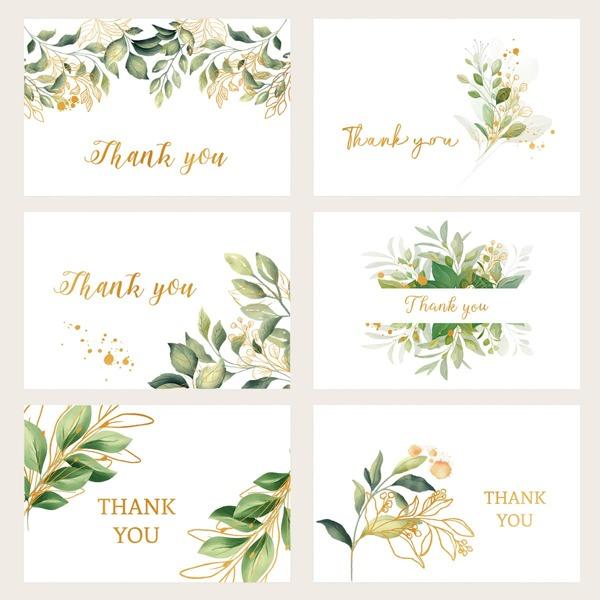6pcs Plants Print Greeting Card, Green