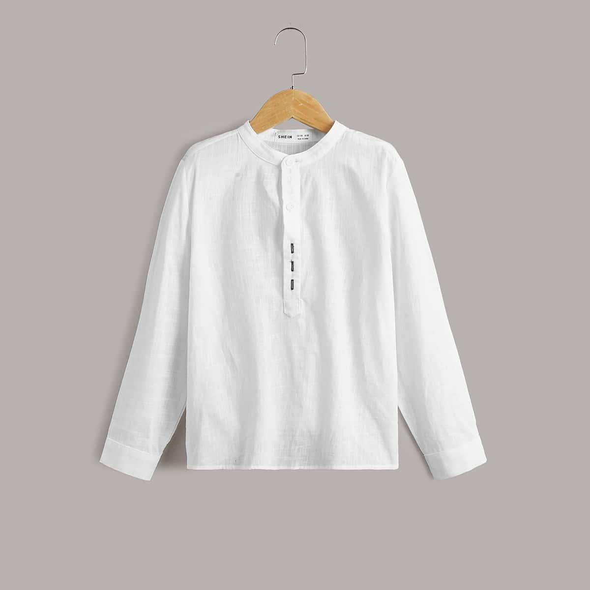 для мальчиков Рубашка с вышивкой на пуговицах