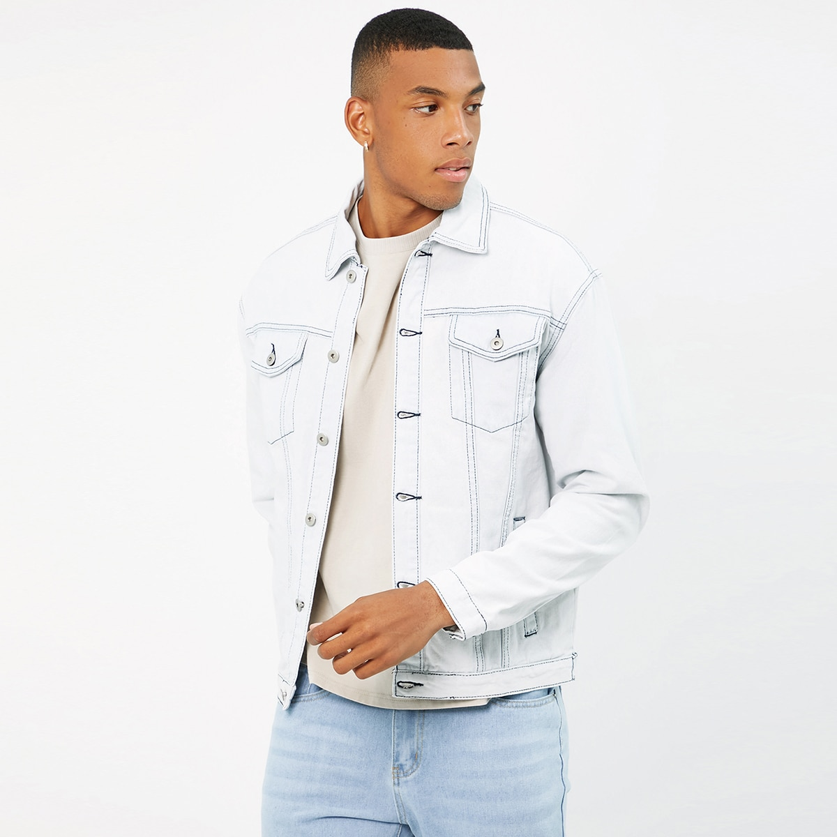 Men Flap Detail Top-stitching Denim Jacket