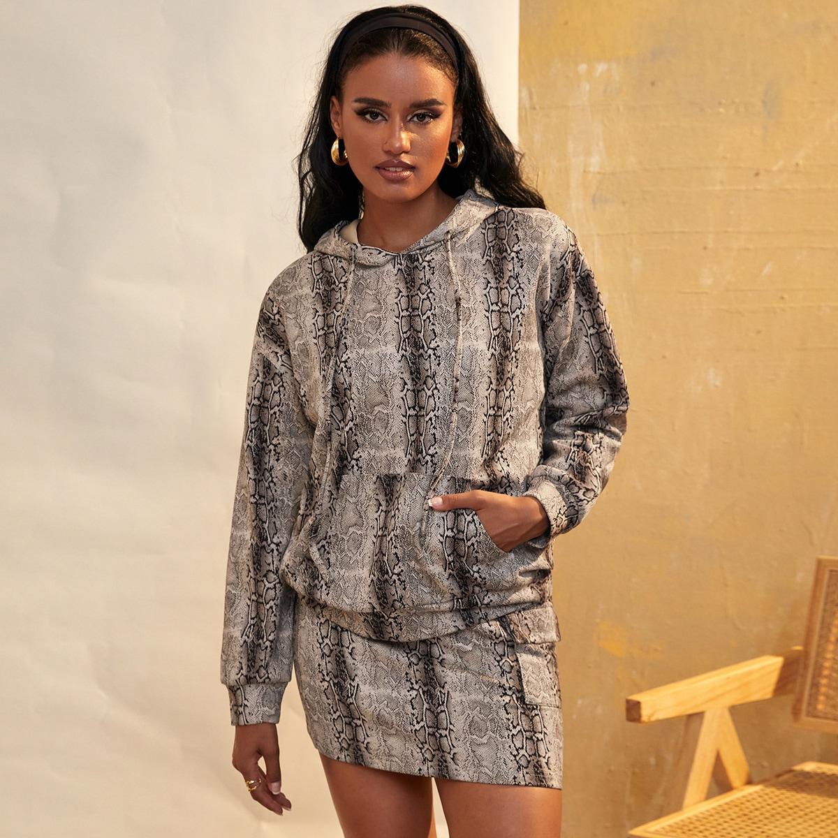 Snakeskin Print Drop Shoulder Drawstring Suede Hoodie & Bodycon Skirt