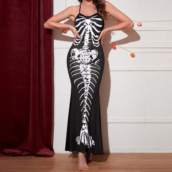 Skeleton Print Halloween Costume Dress, Black and white
