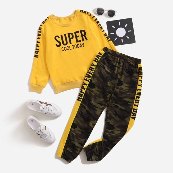 Boys Slogan Graphic Pullover & Camo Print Sweatpants, Multicolor