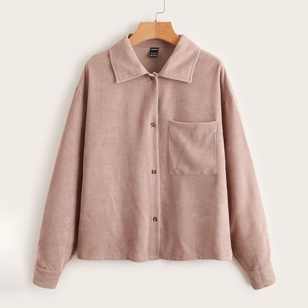 Pocket Patched Button Front Cord Blouse, Dusty pink
