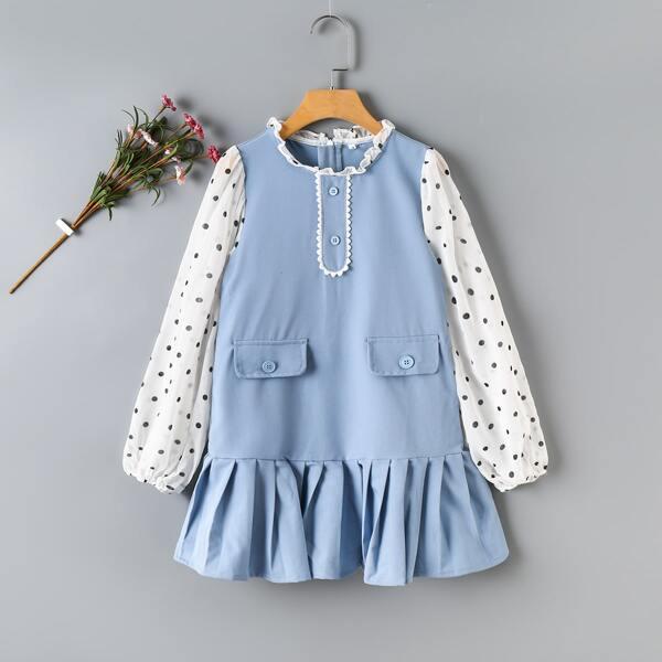 Girls Polka Dot Print Lantern Sleeve Fold Pleated Dress, Blue