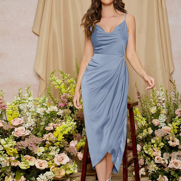 Ruched Asymmetrical Hem Solid Dress, Dusty blue