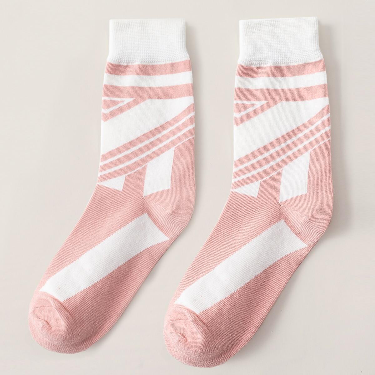 Носки до середины голени в полоску