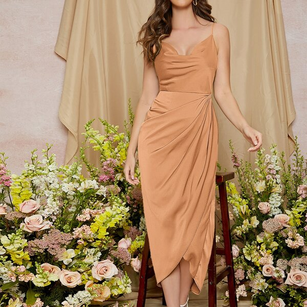 Ruched Asymmetrical Hem Solid Dress, Orange